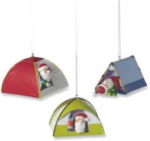 Santa in Tent Christmas Ornaments (Set of 3)