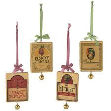 Wine Labels Christmas Ornaments (Set of 4)