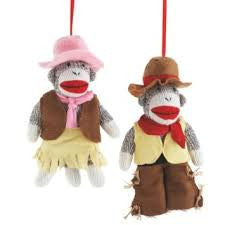 Sock Monkey Cowboy & Cowgirl Christmas Ornaments (Set of 2)