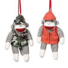 Sock Monkey Hunting Christmas Ornaments (Set of 2)