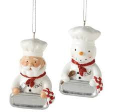 Santa & Snowman Chef Christmas Ornament (Set of 2)