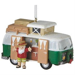 Santa with RV Camper Christmas Ornament