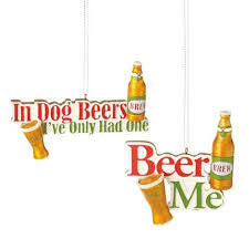 In Dog Beers Christmas Ornament (Set of 2)