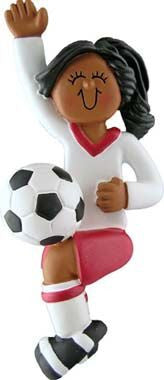 Female Soccer Player in Red Uniform Christmas Ornament