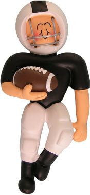 Football Player in Black Uniform Christmas Ornament
