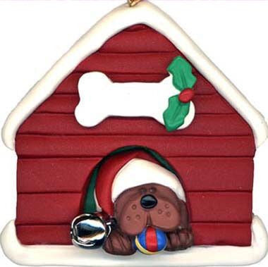 Brown Dog in Doghouse Christmas Ornament