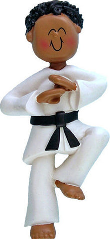 African-American Male Karate Christmas Ornament