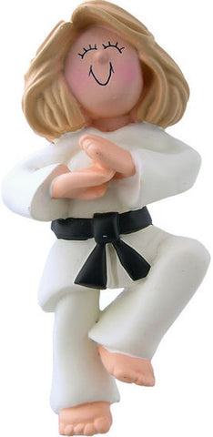 Blonde Female Karate Christmas Ornament