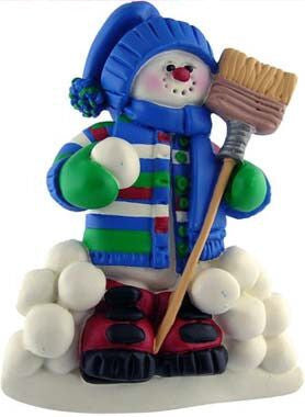 Snowman with Broom Christmas Ornament