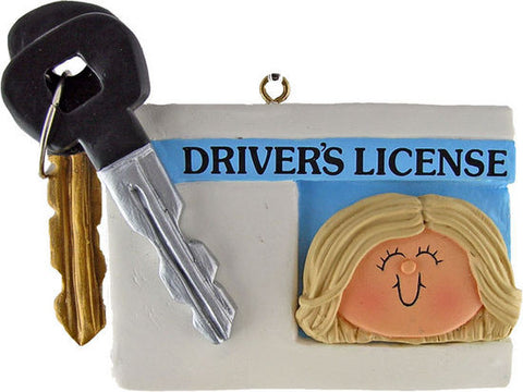 Blonde Female License Christmas Ornament