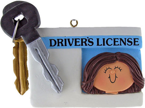 Brunette Female License Christmas Ornament
