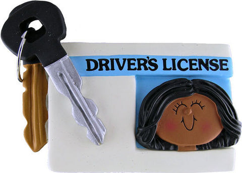 African-American Female License Christmas Ornament