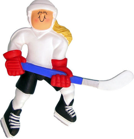 Blonde Female Hockey Player Christmas Ornament