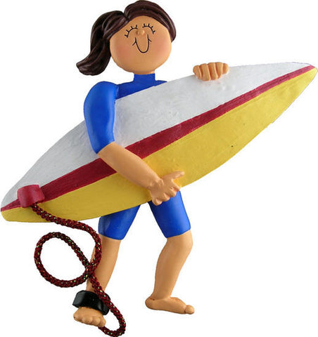Brunette Female Surfer Christmas Ornament
