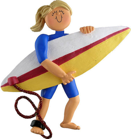 Blonde Female Surfer Christmas Ornament
