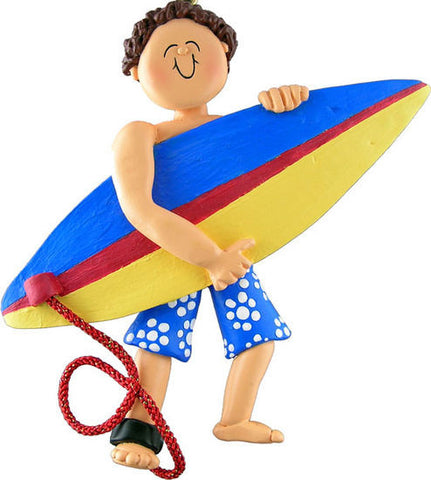 Brown Hair Male Surfer Christmas Ornament