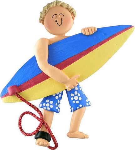 Blonde Male Surfer Christmas Ornament