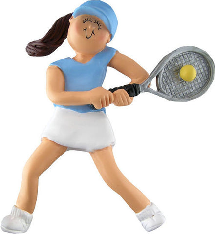 Brunette Female Tennis Player Christmas Ornament