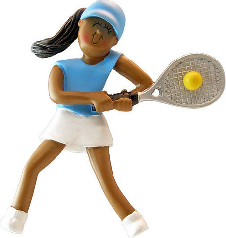 African-American Female Tennis Player Christmas Ornament