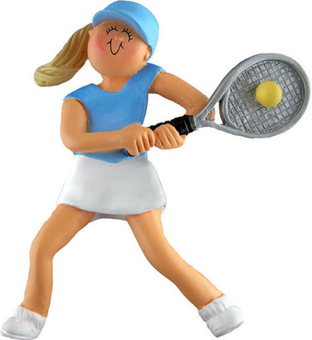 Blonde Female Tennis Player Christmas Ornament