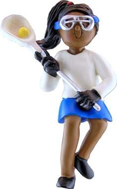 African-American Female Lacrosse Player Christmas Ornament
