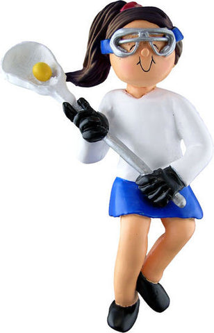 Brunette Female Lacrosse Player Christmas Ornament