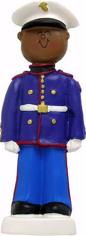 African-American Marine Christmas Ornament
