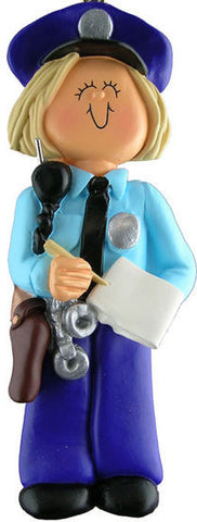 Blonde Policewoman Christmas Ornament