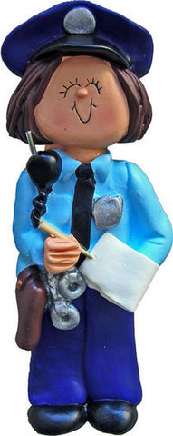 Brunette Policewoman Christmas Ornament