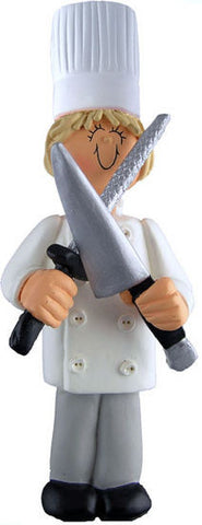 Blonde Female Chef Christmas Ornament