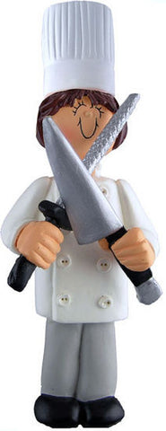 Brunette Female Chef Christmas Ornament