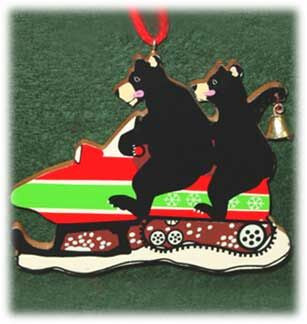 Bears on Snowmobile Christmas Ornament