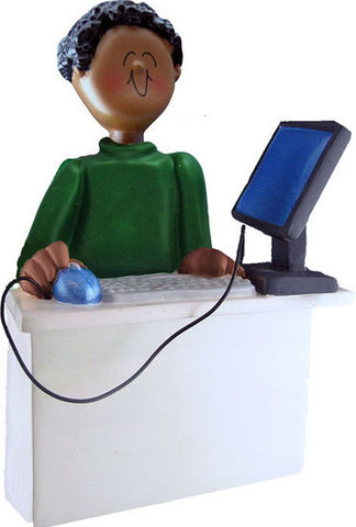 African-American Male Computer Operator Christmas Ornament