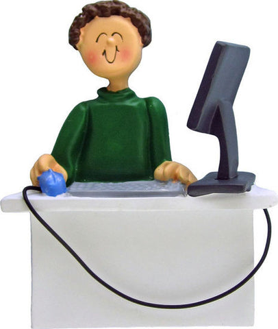 Brown Hair Male Computer Operator Christmas Ornament