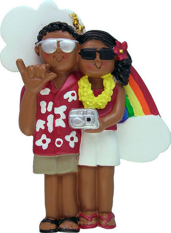 African American Couple on Vacation Christmas Ornament