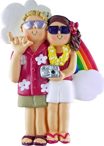 Blonde Male / Brunette Female Couple on Vacation Christmas Ornament