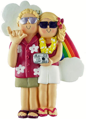 Blonde Male / Blonde Female Couple on Vacation Christmas Ornament