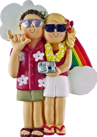 Brown Hair Male / Blonde Female Couple on Vacation Christmas Ornament