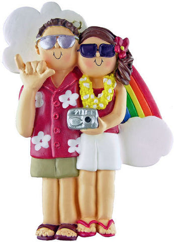 Brown Hair Male / Brunette Female Couple on Vacation Christmas Ornament