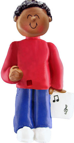 African-American Male Musician Christmas Ornament