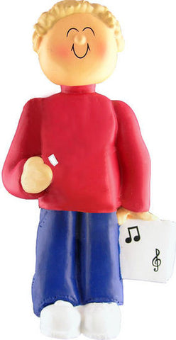 Blonde Male Musician Christmas Ornament