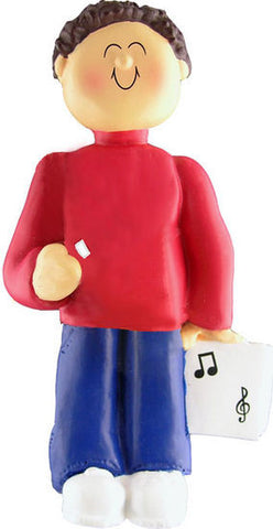 Brown Hair Male Musician Christmas Ornament