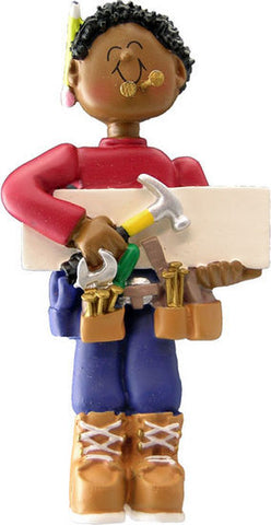 African-American Male Carpenter Christmas Ornament