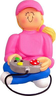 Blonde Female Video Game Player Christmas Ornament