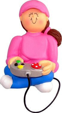 Brunette Female Video Game Player Christmas Ornament