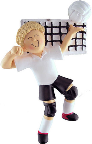 Blonde Male Volleyball Player Christmas Ornamentl