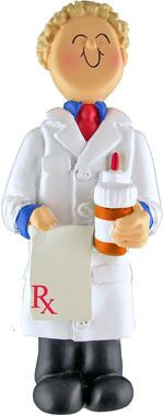Blonde Male Pharmacist Christmas Ornament