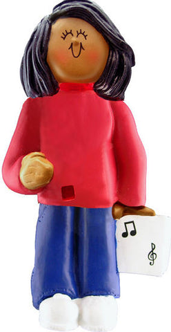 African-American Female Musician Christmas Ornament