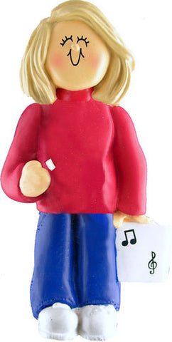 Blonde Female Musician Christmas Ornament