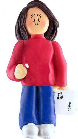 Brunette Female Musician Christmas Ornament